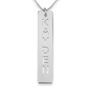 Engraved Vertical Bar Necklace