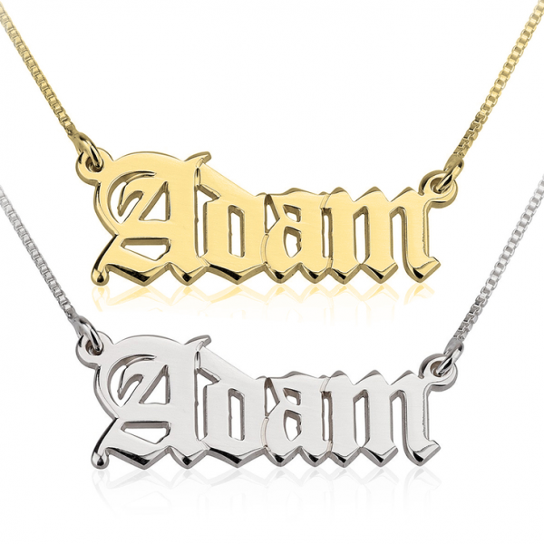 Old English Name Necklace