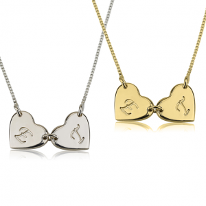 2 Hearts Initial Necklace