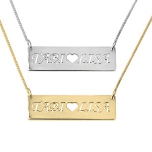 2 Names Heart Bar Necklace