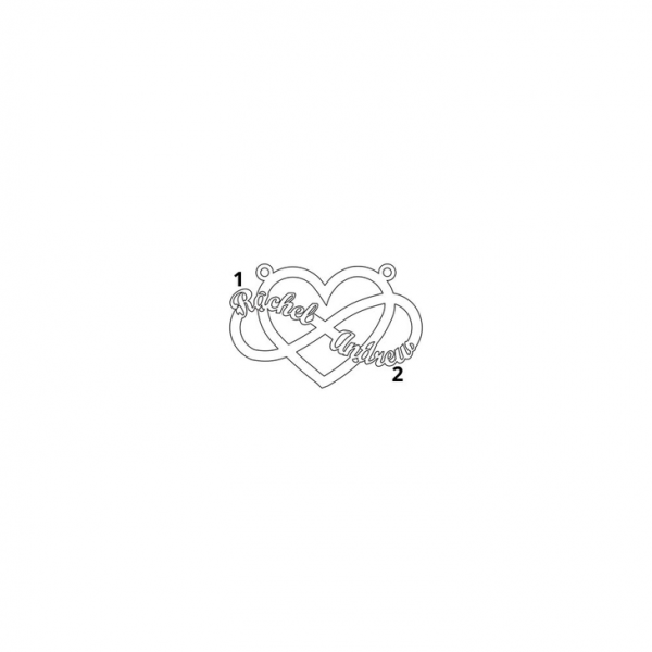 2 Names Heart Infinity Necklace