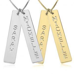 2 Names Vertical Bars Necklace