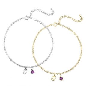 Birthstone Initial Anklet