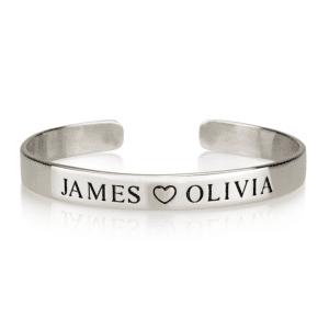 Engraved Heart 2 Names Bracelet