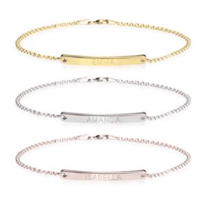Engraved Skinny Bar Bracelet