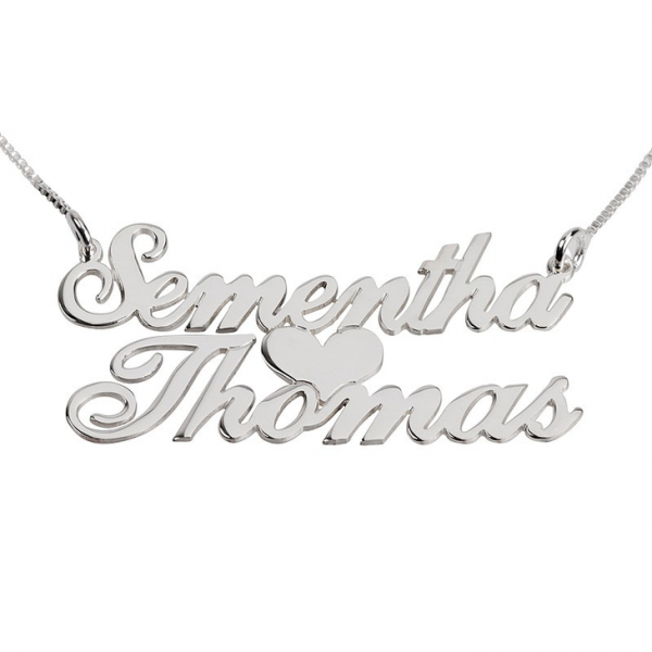 Heart 2 Names Necklace