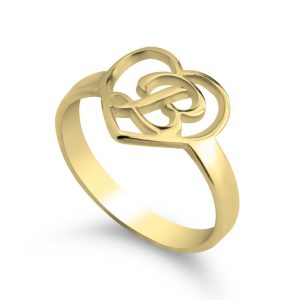Heart Initial Ring - 24k Gold Plating, 13