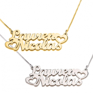 Hearts 2 Names Necklace