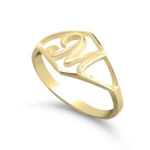 Initial Ring - 24k Gold Plating, 13