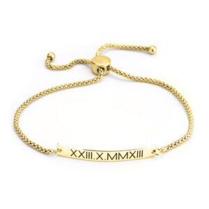 Roman Numeral Bar Bracelet - 24k Gold Plating