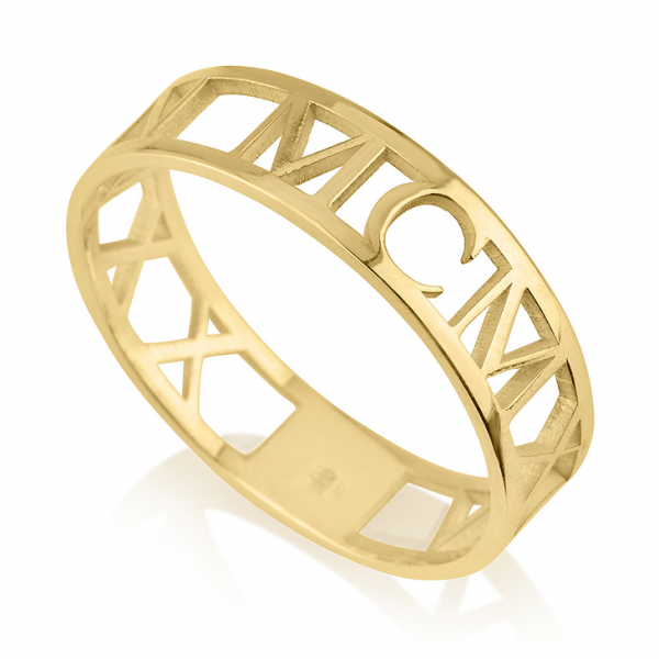 Roman Numeral Ring - 24k Gold Plating, 13