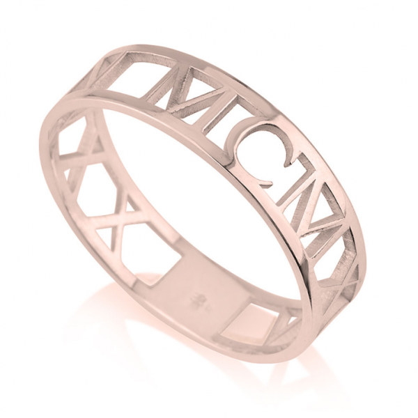 Roman Numeral Ring - Rose Gold Plating, 6.5